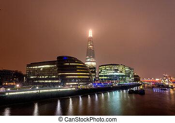 london, város égvonal, éjjel