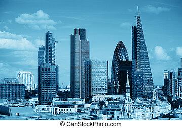 london, város, háztető