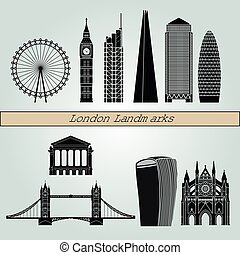 London V2 landmarks and monuments isolated on blue background in editable vector file