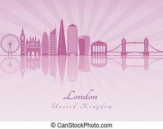 London V2 skyline in purple radiant orchid
