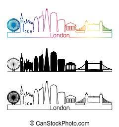 London V2 skyline linear style with rainbow