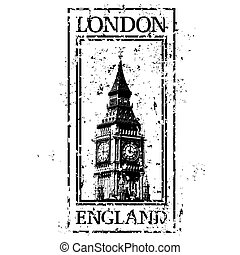 London - Vector illustration of stamp or postmark style...