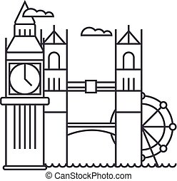 london vector line icon, sign, illustration on background,...