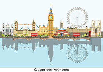 london, vektor, láthatár, 3