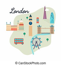 london., viaje, mapa, y, vector, paisaje, de, edificios, y, famoso, landmarks., big ben, puente, decker doble, y, telephone., vector, illustration.
