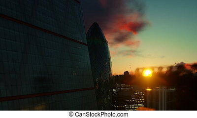 London view against beautiful sunrise