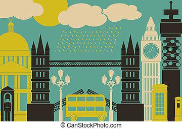London View - Illustration of London symbols and landmarks.
