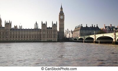 Big Ben Tower and Westminster Bridge at Thames River in London