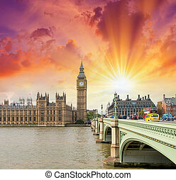 London. Westminster Bridge and Houses of Parliament on a beautiful evening.