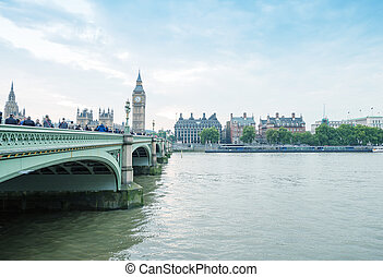 London. Westminster Bridge and Houses of Parliament