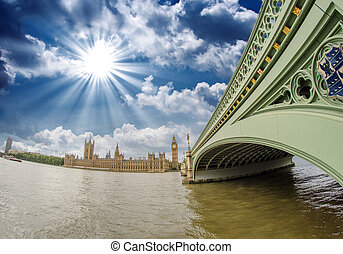 London. Westminster Bridge and Houses of Parliament, wide angle view.