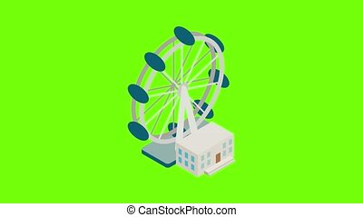 London wheel icon animation cartoon best object on green screen background