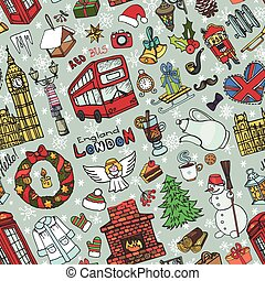 London winter seamless pattern - London Winter Vector...