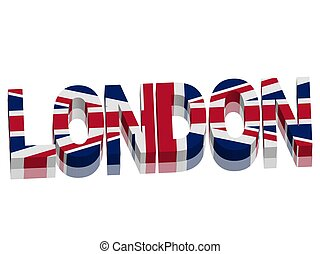 London with Union Jack British flag Word Text Vector 3D