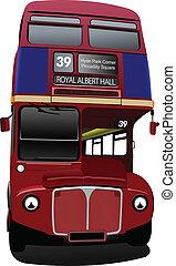 londra, decker, autobus, doppio, rosso, b