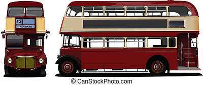 londra, decker, doppio, rosso, bus., vec