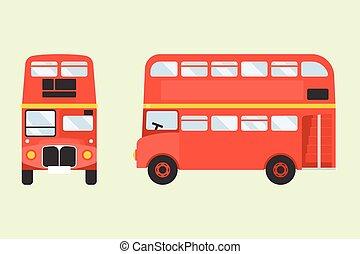 londra, double-decker, vista, fronte, icona, lato, disegno, ...