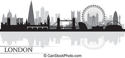 londra, fondo, orizzonte, città, silhouette