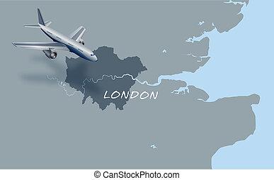 londra, sopra, aereo, jet, volare, mappa