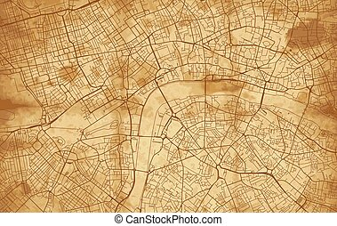 londra, vendemmia, mappa urbana, strada
