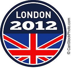 londres, 2012, britânico, união jack, bandeira