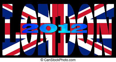 londres, 2012, couleurs, illustration, drapeau