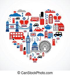 londres, amor, -, corazón, con, muchos, vector, iconos