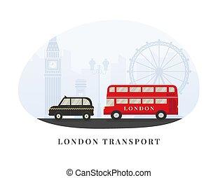 londres, angleterre, royaume, -, grand, cab., decker, taxi, uni, autobus, tourism., ben, repères, rouges, double, symboles