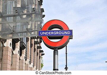 londres, angleterre, signe métro