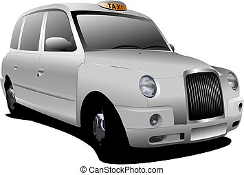 londres, blanc, vecteur, taxicab., illustration
