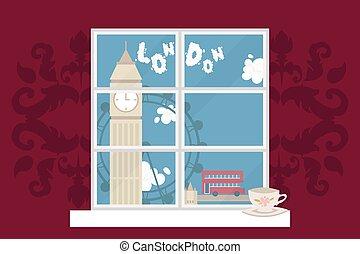 londres, caricatura, torre, vista, double-decker, paseo, ...