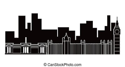 londres, cityscape, silhouette