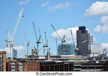 londres, construction, ville bâtiments, nouveau