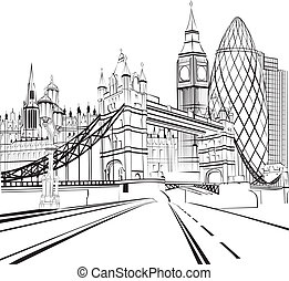 londres, croquis, silhouette