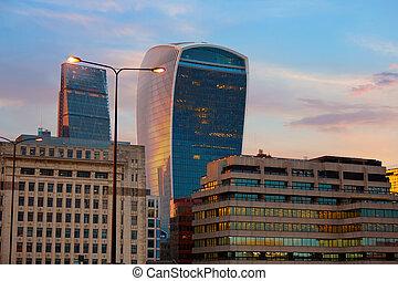 londres, district financier, horizon, coucher soleil
