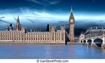 londres, el, uk., rojo, autobús, en el movimiento, y, big ben, el, palacio, de, westminster., el, iconos, de, inglaterra, en, vendimia, estilo retro