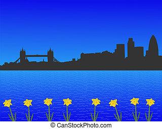 londres, horizon, dans, printemps