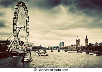 londres, inglaterra, el, reino unido, skyline., ojo de londres, big ben, río thames
