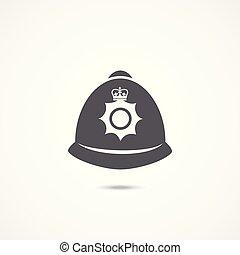 londres, policía, sombrero, icono