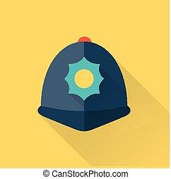 londres, policía, sombrero, plano, icono