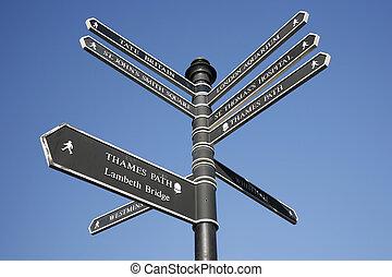 londres, poste signo, calle, dirección