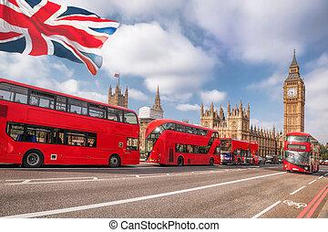londres, símbolos, con, big ben, autobús de decker de doble, y, teléfono rojo, cabinas, en, inglaterra, reino unido