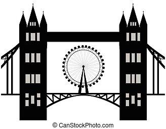 londres, silhouette., vecteur, image, oeil, tour, dessin animé, isolé, pont blanc, illustration, arrière-plan.