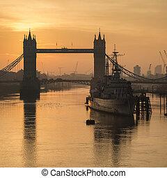 londres, sobre, amanhecer, torre, alvorada, rio thames, ponte, outono, bonito, outono