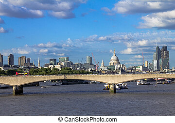 londres, tarde, tarde, hungerford, luz, bridge., cityscape