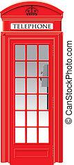 londres, teléfono, -, caja del icono, rojo
