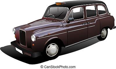 londres, vector, taxicab., ilustración