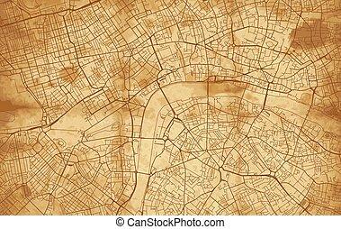 londres, vendimia, mapa ciudad, calle