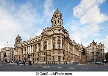 londres, vieux, bureau, whitehall, guerre, royaume-uni, bâtiment