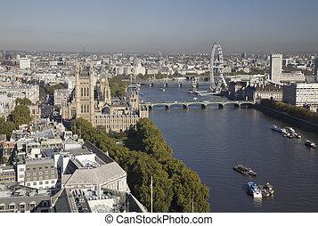 londres, vista, aéreo, parlamento, casas, eye.